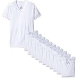 Hanes Men's 12-Pack FreshIQ V-Neck T-Shirt White X-Large