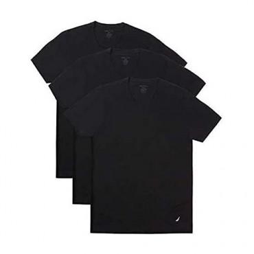 Nautica T-Shirt Tagless Crew Neck Stretch Super Soft Cotton Classic Fit with Logo 3 Pair