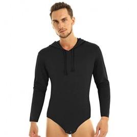 ranrann Men's Long Sleeves Press Button Crotch Bodysuit Hoodie Strappy Shirts Romper Pajamas