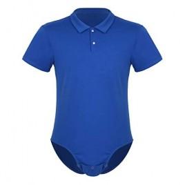 renvena Men's Slim-Fit Short Sleeve Pole Shirt Bodysuit One Piece Turn-Down Collar Button Crotch Rompers