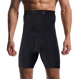 Optlove Men's Tummy Control Shapewear Shorts High Waist Slimming Anti-Curling Underwear Body Shaper Seamless Boxer Brief