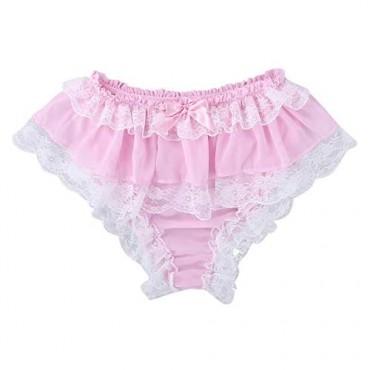 JEEYJOO Men's 2 Pieces Frilly Chiffon Bikini Briefs Sissy Lace Trimed Lingerie Set Nightwear