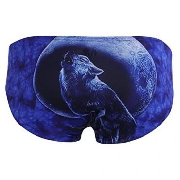JEEYJOO Mens Cool 3D Leopard Wolf Printing Lingerie Low Rise Bikini Briefs Underwear
