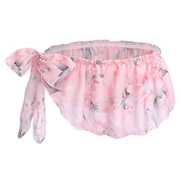 Men Frilly Ruffle Sissy Floral Skirted Panties Side Tie Crossdress Lingerie Chiffon Briefs
