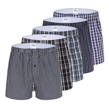 Men's Plaid Woven Boxer Underwear 5/3 Pack 100% Cotton Premium Classic Tartan Shorts