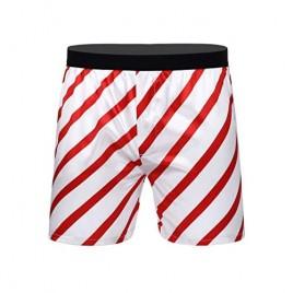 XUNZOO Mens Novelty Christmas Satin Striped Mid-Rise Classic Stripe Xmas Boxer Loose Lounge Shorts