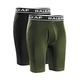 BALEAF Men's Cool Dry 9 Inch Underwear Long Leg Athletic Boxer Briefs Sport Workout Stretch 2-Pack Lightweight