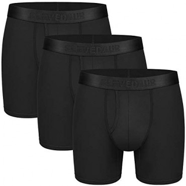 CLEVEDAUR Men's Underwear 6 Inches Micro Modal Mens Boxer Briefs (Pack of 3)