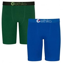 Ethika Mens Staple Boxer Briefs | 2-Pack Blue and Green