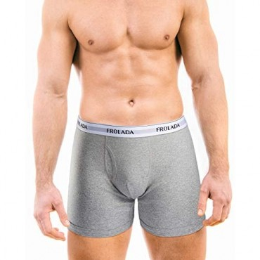 FROLADA Men's Underwear Cotton Boxer Briefs Soft Breathable Mid Rise Underpants Fly Front with Pouch 5 Pack