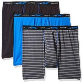 Hanes Men's X-Temp Lightweight Mesh Stripe Boxer Brief 3-Pack Underwear
