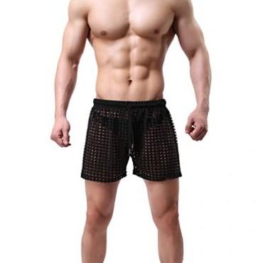 Linemoon Men's Mesh Shorts Sexy Lounge Hollow Boxer Underwear