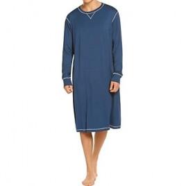 Ekouaer Men's Nightshirt Long Sleeve Sleepwear Soft Comfy Nightgown Loose Sleep Shirt S-XXL
