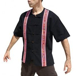 RaanPahMuang Thai Cotton Short Sleeve Handcrafted Open Collar Wood Button Shirt