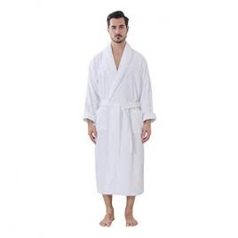 HONI Mens Terry Robe 100% Cotton Bathrobe Soft Absorbent White L 060-1