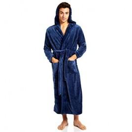 Jovannie Mens Fleece Solid Colored Robe Long Hooded Bathrobe