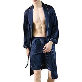 Lavnis Men's Satin Bathrobe Nightgown Casual Kimono Robe Loungewear Sleepwear Pajama Set with Shorts