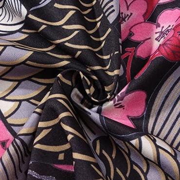LifeHe Men's Kimono Japanese Floral Printed Kimono Cardigan Jackets Coats