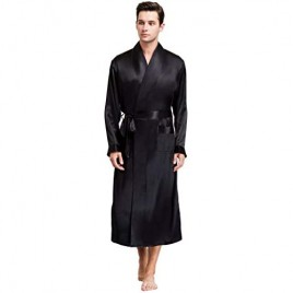 Lonxu Mens Silk Satin Bathrobe Robe Nightgown Big and Tall S~3XL Plus …