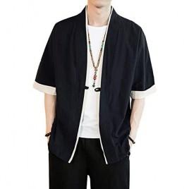 Men Japanese Short-Sleeved Kimono Cardigan Yukat Coat Loose Cardigan Jacket Top
