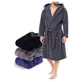 Men's Hooded Robe Lightweight Bathrobe Flannel Sleepwear Casual Winter Pajamas with Hood