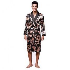 Men's Long Satin Floral Robe Silky Bathrobe Dragon Pattern Sleepwear withLong Sleeves and 2 Front Pockets