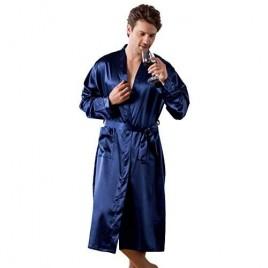 Sunyan Kimono Robes for Men Solid Color Bathrobes Sleepwear Satin Mens Loungewear