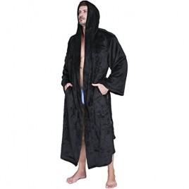 VERNASSA Mens Fleece Robe  Long Hooded Bathrobe Sleepwear