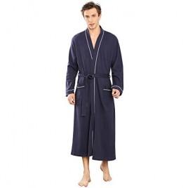 YIMANIE Men's Robes Cotton Bathrobe Lightweight Soft Knee Length Sleepwear