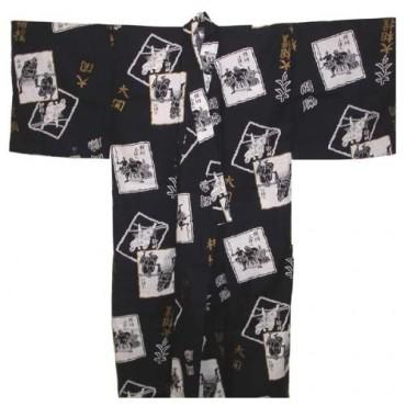 Yukata Sumo Navy and White Kimono Robe (Navy 62 - LL)