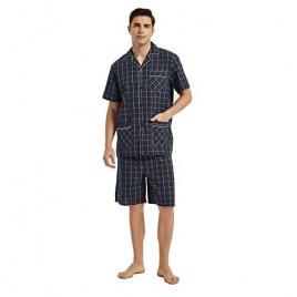 GLOBAL Men Short Pajama Set 100% Cotton Summer Pajama for men Soft Classic Plaid Loungewear