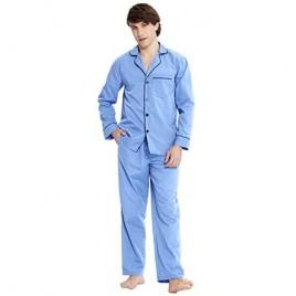 PIZZ ANNU Mens Plain-Weave Pajama Set Long Sleeve Lightweight Sleepwear Loungewear