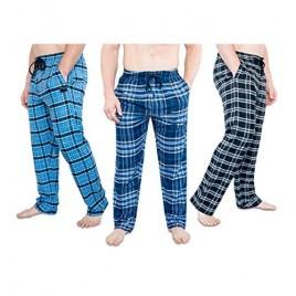 3 Pack Mens Ultra Soft Bottoms Flannel Pajama (PJs) Lounge Sleep Pants Assorted Various Plaids