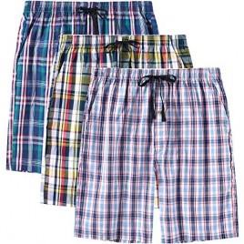 JINSHI Men's Pajama Shorts Cotton Sleep Short Pockets Sleep Bottoms Plaid Lounge Shorts
