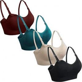GXXGE 4Pack Nursing Bra for Breastfeeding Maternity Bras Push Up Silk Seamless Pregnancy Bralette Underwear