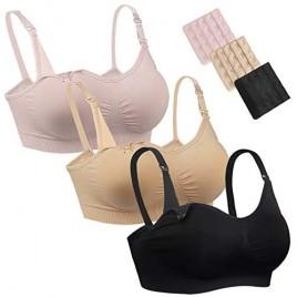 Natseekgo 3Pack Seamless Nursing Breastfeeding Bra Padded Clip Down Maternity Bralette with Extra Bra Extenders