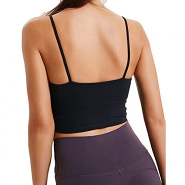 Sports Bras for Women Longline Padded Bra Yoga Crop Tank Tops Fitness Workout Running Top Bra with Removable Cups