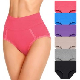 Womens Cotton Underwear High Waist Postpartum Care Panties Soft Breathable No Muffin Briefs Ladies(Multipack) for S-4XL