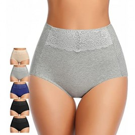 Women's High Waisted Cotton Underwear Soft Breathable Full Coverage Stretch Briefs Ladies Panties 5-Pack