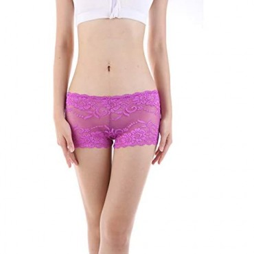 Gefyvuxrm Plus Size Lace Boyshorts Underwear for Women Panties Sexy Lingerie Cheeky 6 Pack