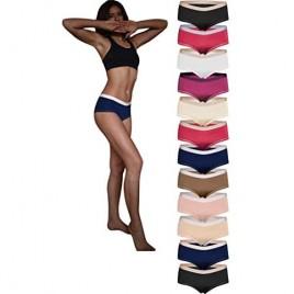 Sexy Basics Women's 12 Pack Boyshort Panties | Ultra-Soft & Silky Nylon -Spandex Stretch Underwear
