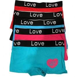women 5 pcs love print boyshorts cotton underwear panties.size MLXL
